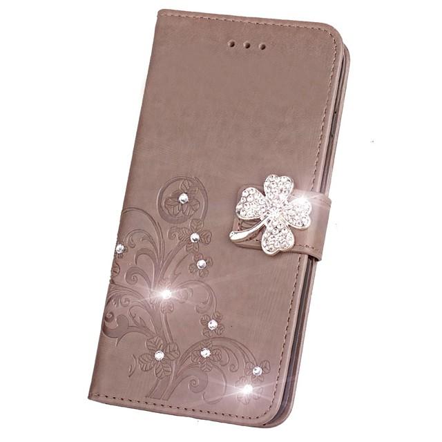Кейс для Назначение SSamsung Galaxy Note 8 / Note 5 / Note 4 Кошелек / Бумажник для карт / Стразы Чехол Цветы Твердый Кожа PU