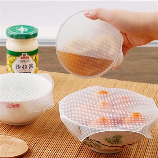4pcs 다기능 식품 신선한 유지 사란 포장 주방 도구 재사용 가능한 실리콘 식품 포장 인감 진공 덮개 뚜껑 스트레칭