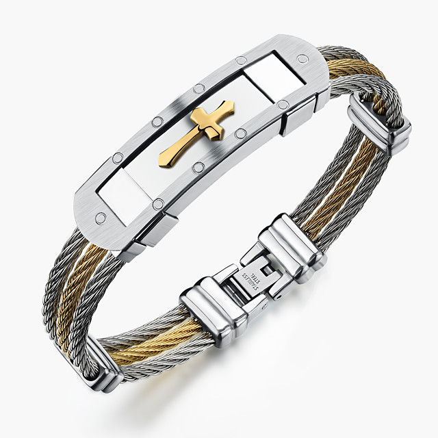 Men's Bracelet Bangles Sideways Cross Rock Gothic Fashion Stainless Steel Bracelet Jewelry Gold / White For Party Birthday Party / Evening Gift Evening Party