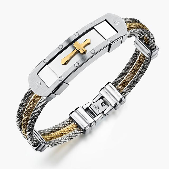 Herr Armringar Sideways Cross Rock Gotiskt Mode Rostfritt stål Armband Smycken Guld / Vit Till Party Födelsedag Fest / afton Gåva Kvällsfest