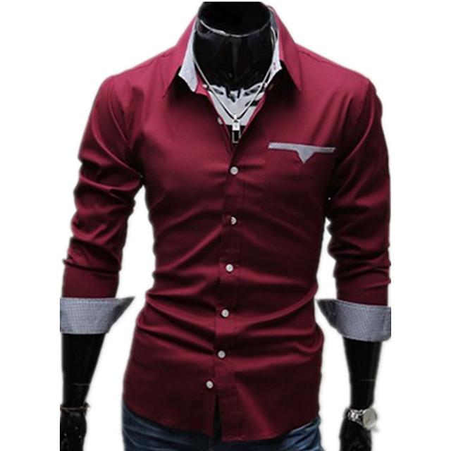 رجالي لون سادة قياس كبير قميص أساسي كم طويل مناسب للبس اليومي نحيل قمم الأعمال التجارية ياقة كلاسيكية أبيض أسود أحمر / الربيع / الخريف / عمل