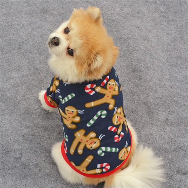 Katze Hund Mäntel T-shirt Pullover Rentier Party Lässig / Alltäglich warm halten Draussen Winter Hundekleidung Welpenkleidung Hunde-Outfits Braun Dunkelblau Kostüm für Mädchen und Jungen Hund