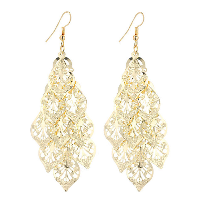 Women's Drop Earrings Hollow Out filigree Leaf Ladies Dangling Vintage Bohemian Simple Style Fashion Silver Plated Gold Plated Earrings Jewelry Gold / Silver For Christmas Gifts Wedding Party Special