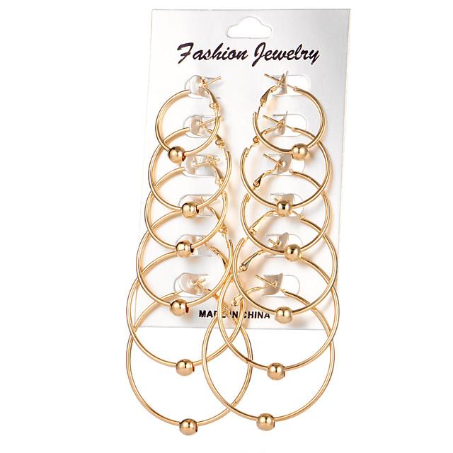 Kadın's Halka Küpeler Bayan Dairesel Tasarım Küpeler Mücevher Altın / Gümüş Uyumluluk Düğün Parti Günlük