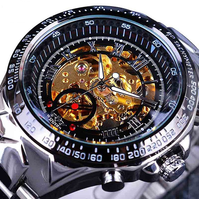 男性用 スケルトン腕時計 リストウォッチ 機械式時計 自動巻き カジュアル カジュアルウォッチ ハンズ 白とシルバー ブラック / シルバー ゴールド / シルバー / ブラック / ステンレス / ステンレス