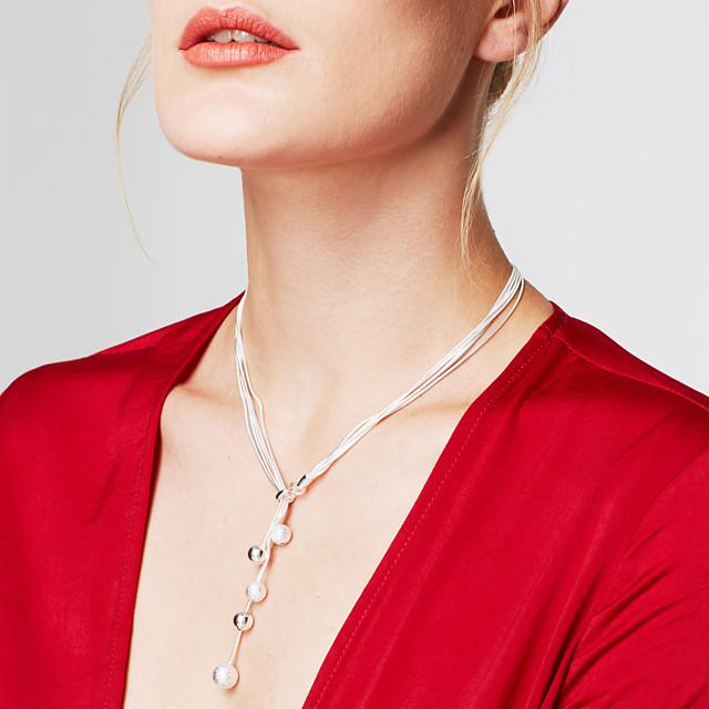 Pentru femei Lănțișoare Y Colier Arcan Minge Minge femei Personalizat Modă Lung Plastic Argintiu Argintiu Coliere Bijuterii Pentru Nuntă Petrecere Cadou Zilnic Casual Mascaradă
