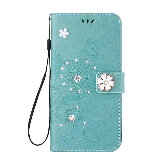 Capinha Para Samsung Galaxy A3 (2017) / A5 (2017) / A5(2016) Carteira / Porta-Cartão / Com Strass Capa Proteção Completa Borboleta / Flor Rígida PU Leather