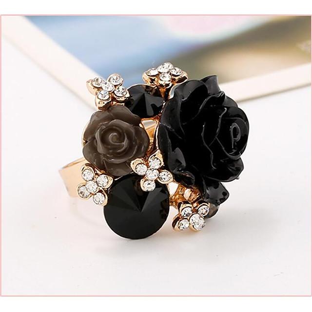 manchet Ring Wit Zwart Paars Hars Roze parel Bloem Dames Verstelbaar