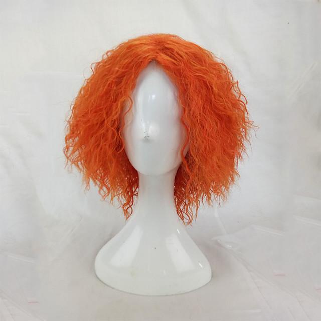 Parrucche Cosplay Parrucche sintetiche Parrucche per travestimenti Afro Kinky Curly Riccio Afro Parrucca Biondo Corto Arancione Capelli sintetici Per donna Biondo hairjoy