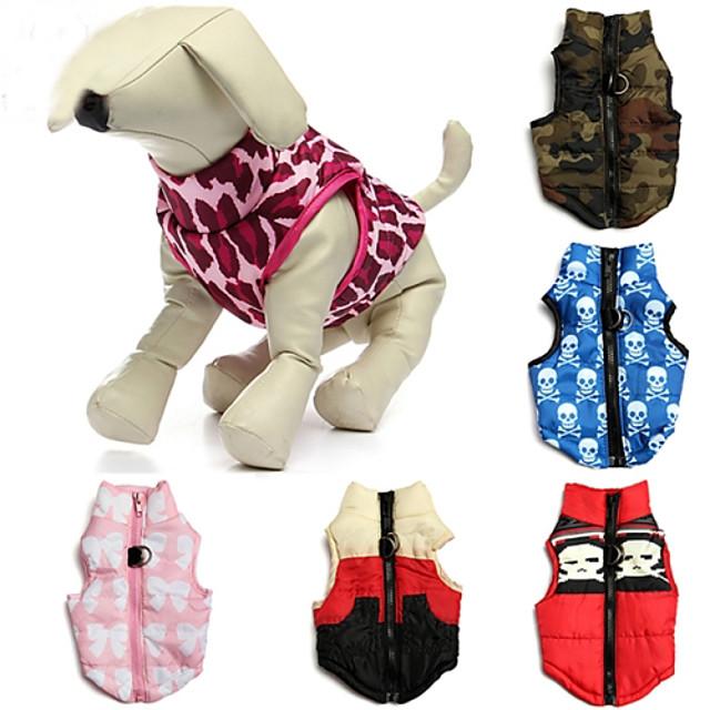 Pisici Câine Haine Γιλέκο Cranii camuflaj Casul / Zilnic Keep Warm În aer liber Iarnă Îmbrăcăminte Câini Culoare Camuflaj Roșu / alb Rosu Costume Bumbac XS S M L