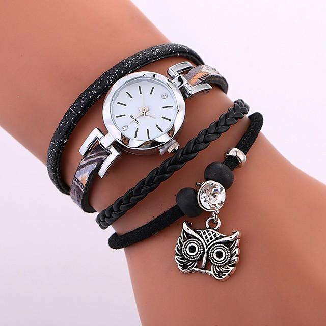 Mulheres Bracele Relógio envoltório relógio Quartzo senhoras Impermeável Analógico Branco Preto Azul / Aço Inoxidável / Couro PU Acolchoado
