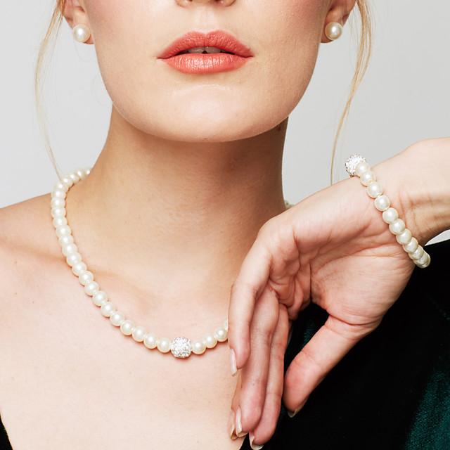 Pentru femei Perle Brățări cu Lanț & Legături Coliere Colier Κολιέ με Πέρλες femei Modă Elegant de Mireasă Perle Diamante Artificiale Alb Coliere Bijuterii Pentru Nuntă Petrecere Zilnic Casual