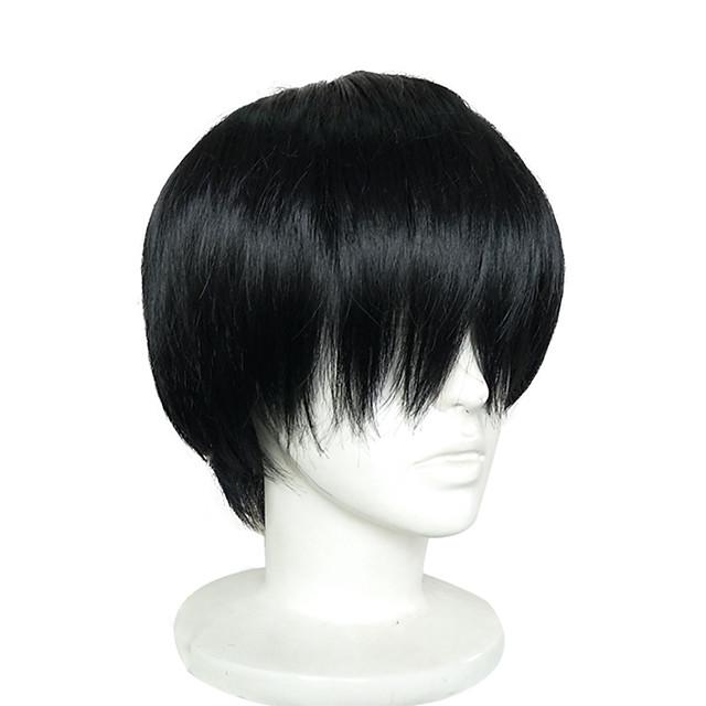 Perruque de cosplay Perruque Synthétique Perruques de Déguisement Droit Droite Perruque Court Noir Cheveux Synthétiques Noir