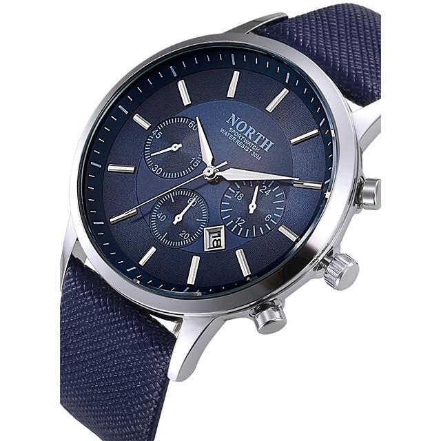 สำหรับผู้ชาย นาฬิกาแนวสปอร์ต สายการบิน นาฬิกาอิเล็กทรอนิกส์ (Quartz) ความหรูหรา กันน้ำ ระบบอนาล็อก ขาว สีดำ ฟ้า / สองปี / สแตนเลส / หนัง / หนังแท้ / ปฏิทิน