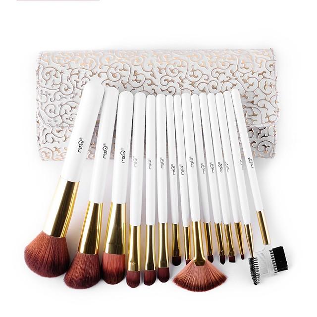 Msq 15 makyaj fırça yapay saç makyaj fırçası ayarlamak hassas beyaz desenli pu durumda kozmetik fırça kılıfı