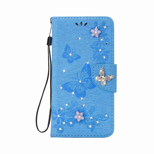 Case For Apple iPhone 12 / iPhone 12 Mini / iPhone 12 Pro Max Wallet / Card Holder / Rhinestone Full Body Cases Butterfly Hard PU Leather