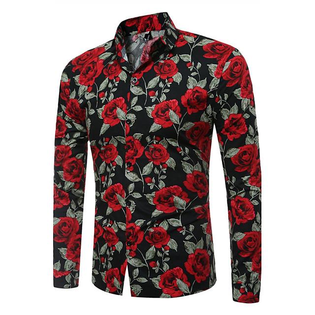 男性用 シャツ フラワー プリント 長袖 日常 トップの ヴィンテージ ホワイト ブラック