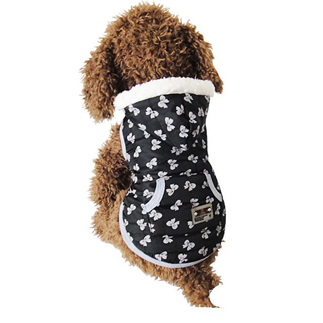 كلب المعاطف ملابس الجرو منقط كاجوال / يومي الشتاء ملابس الكلاب ملابس الجرو ملابس الكلب أسود كوستيوم للفتاة والفتى الكلب قطن