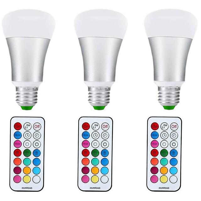 3adet 10 W LED Küre Ampuller 1000 lm E27 A70 1 LED Boncuklar COB Kısılabilir Dekorotif RGB + Sıcak 85-265 V / 3 parça