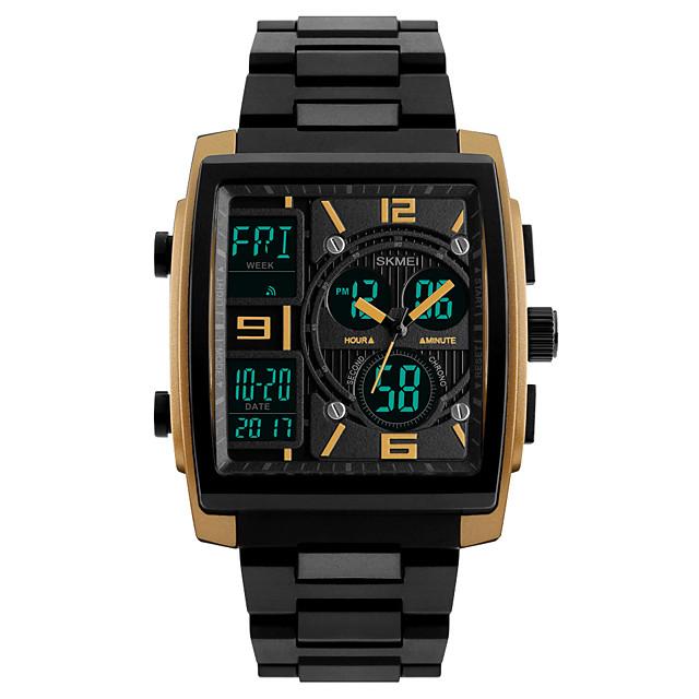 SKMEI สำหรับผู้ชาย นาฬิกาแนวสปอร์ต นาฬิกาข้อมือ นาฬิกาดิจิตอล ดิจิตอล คลาสสิก กันน้ำ อะนาล็อก-ดิจิตอล สีทอง สีดำ แดง / สองปี / PU Leather / ญี่ปุ่น / นาฬิกาปลุก / ปฏิทิน