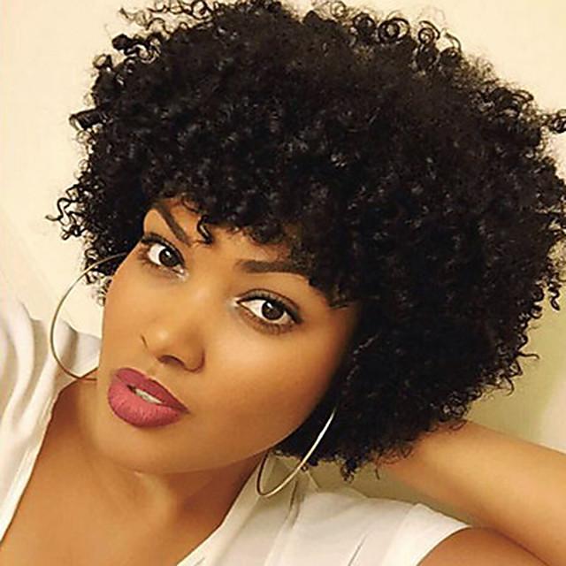 Sentetik Peruklar Bukle Bukle Peruk Şort Siyah Sentetik Saç Kadın's Afrp Amerikan Peruk Siyah
