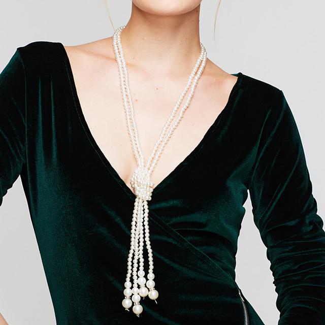 Pentru femei Perle Coliere Colier Y Colier Multistratificat Arcan femei Elegant Multistratificat Perle Imitație de Perle Alb Coliere Bijuterii Pentru Nuntă Petrecere Zilnic Casual / Colier lung,