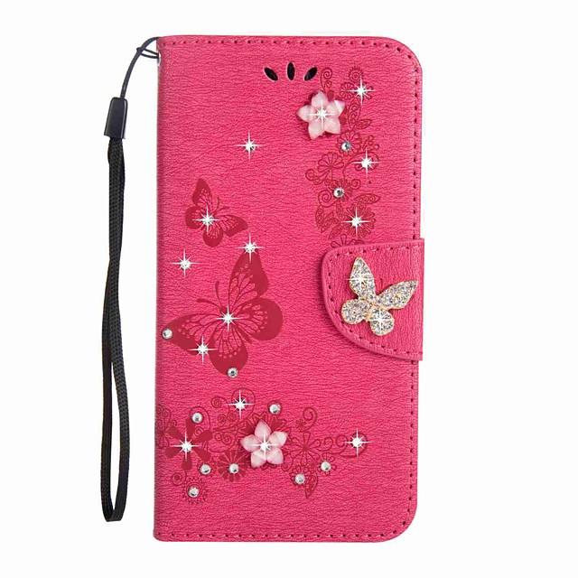 Case สำหรับ Samsung Galaxy J5 (2017) / J3 (2017) / J3 (2016) Wallet / Card Holder / Rhinestone ตัวกระเป๋าเต็ม Butterfly Hard หนัง PU