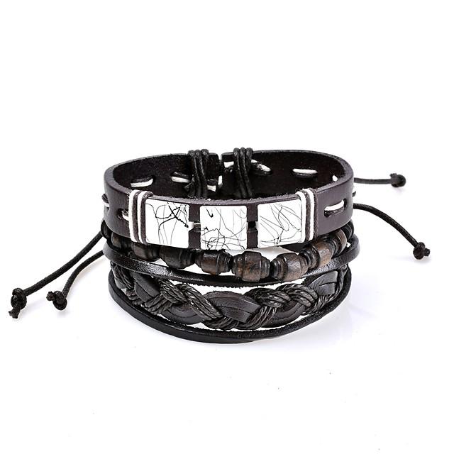 Bracelets en cuir Bracelets de mémoire Homme Femme Géométrique tissé Cuir Personnalisé Basique Style Simple Rock Gothique Mode Bracelet Bijoux Noir Forme de Cercle Forme Géométrique pour Mariage