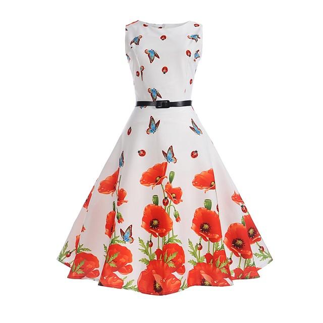 Dames Strakke jurk Knielengte jurk Wit Mouwloos Vlinder Bloemen Opdruk Zomer Ronde hals Wijnoogst Katoen Bloemen S M L XL XXL