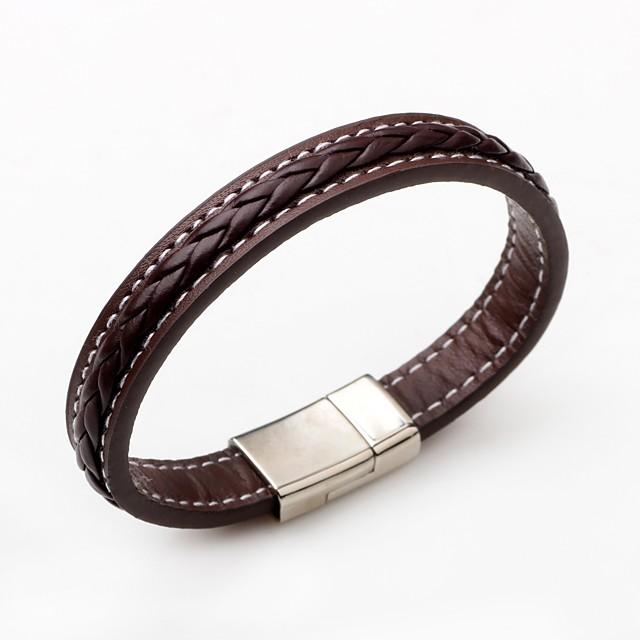 Bracelets en cuir Homme Femme Magnétique Cuir Punk Style Simple Bracelet Bijoux Noir Marron Rond pour Cadeau Décontracté