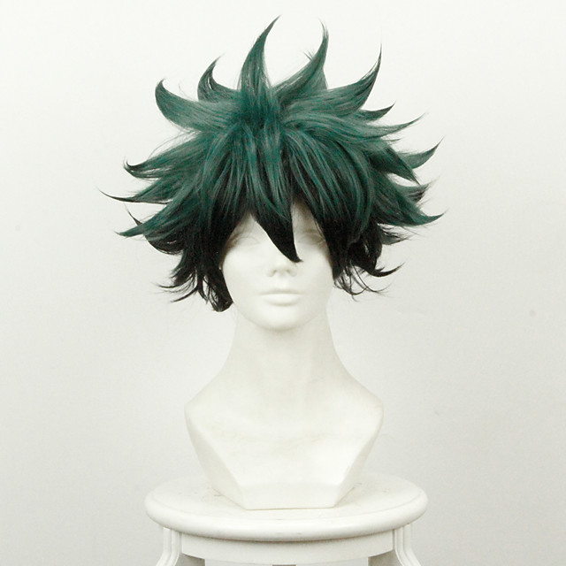 My Hero Academy Battle For All / Boku no Hero Academia Midoriya Izuku Deku Perruques de Cosplay Homme 14 pouce Fibre résistante à la chaleur Perruque Anime