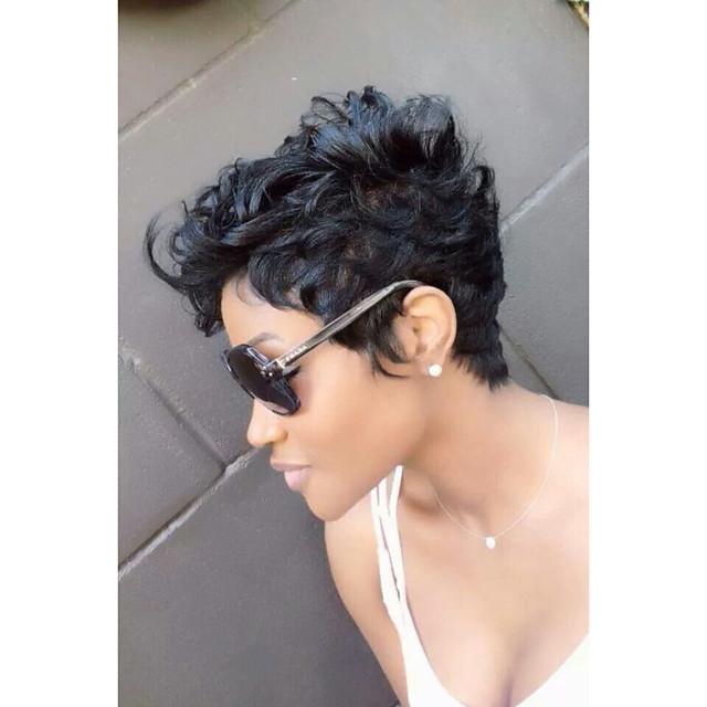 Perruque Synthétique Bouclé Frisé Jerry Bouclé JheriCurl Perruque Court Noir Naturel Cheveux Synthétiques Femme Perruque afro-américaine Noir MAYSU