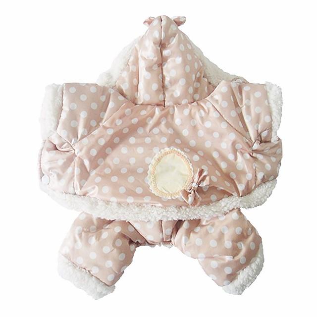 Σκύλος Παλτά Πουά Διατηρείτε Ζεστό Χειμώνας Ρούχα για σκύλους Ροζ Μπεζ Στολές Βαμβάκι Τ M L XL