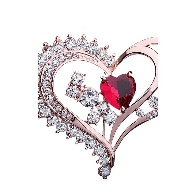 نسائي دبابيس قلب موضة أنيق حجر الراين بروش مجوهرات بني فاتح من أجل مناسب للحفلات هدية