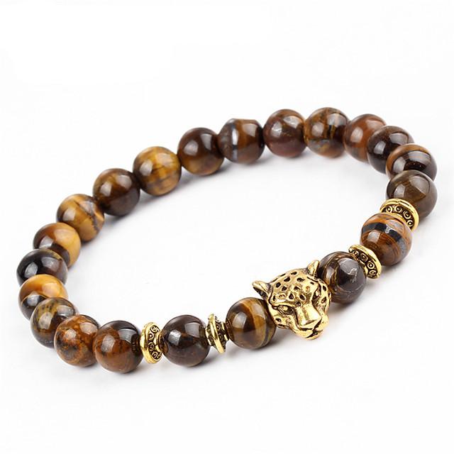 สำหรับผู้ชาย สำหรับผู้หญิง Onyx หินตาเหยี่ยว สร้อยข้อมือ Strand กำไล Chakra ธรรมชาติ Equilibrio Stone สร้อยข้อมือเครื่องประดับ สีน้ำตาล สำหรับ ปาร์ตี้ ของขวัญ