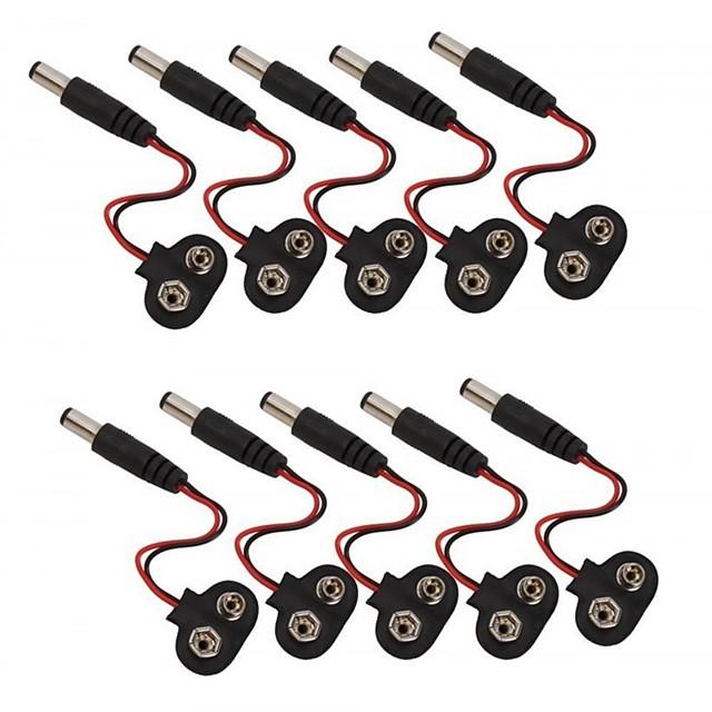 9 فولت بطارية كليب المفاجئة الملحقات مع 2.1 × 5.5 ملليمتر ذكر دس التوصيل لاردوينو (10 حزمة)