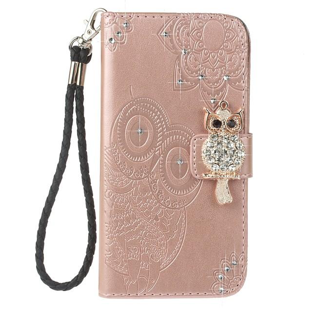 Coque Pour Samsung Galaxy Note 8 Portefeuille / Porte Carte / Strass Coque Intégrale Chouette Dur faux cuir