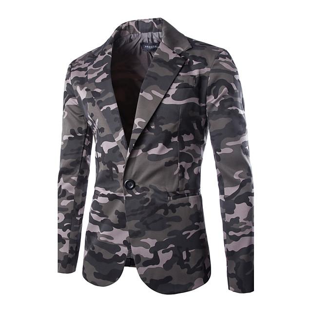 Homme camouflage Automne veste Normal Quotidien Manches Longues Coton Manteau Hauts Vert / Hiver / Mince