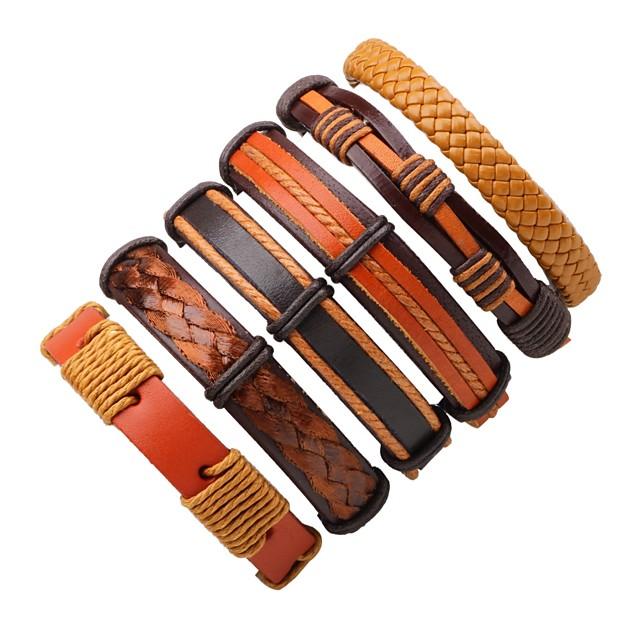 رجالي نسائي أساور من الجلد بوهيميان أسلوب بسيط جلد مجوهرات سوار بني من أجل فضفاض مناسب للخارج