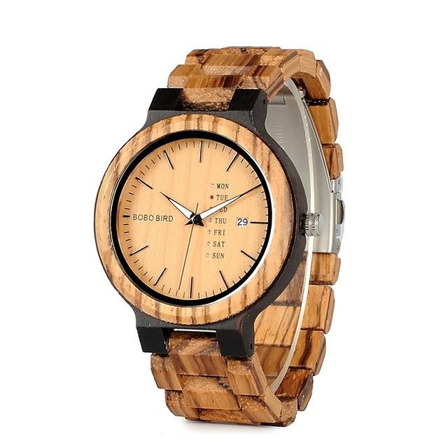 Bărbați Ceas de Mână Quartz Charm Rezistent la Apă Analog Culoarea Lemnului Negru / Calendar / Cronograf