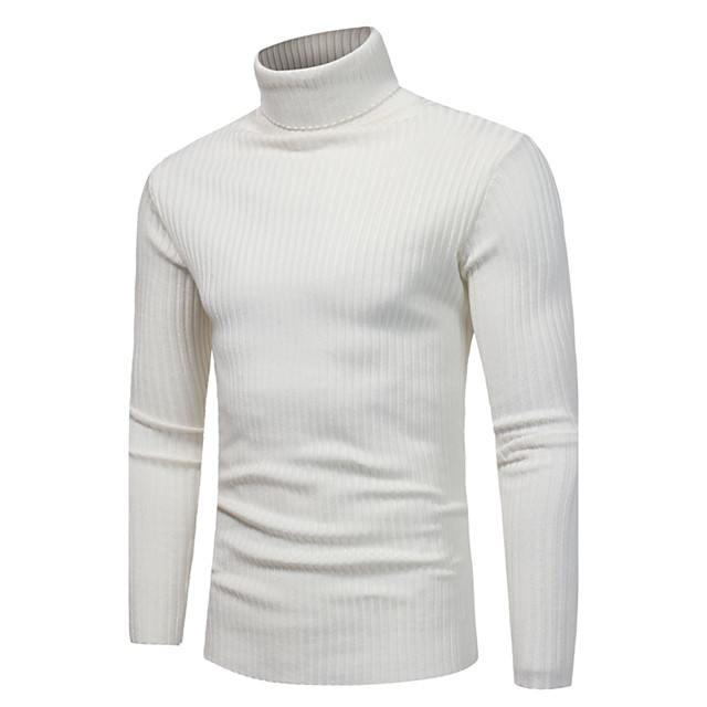 Homme Couleur Pleine Pullover Manches Longues Mince Normal Pull Cardigans Col Roulé Automne Hiver Blanche Gris Clair Bleu Marine / Fin de semaine
