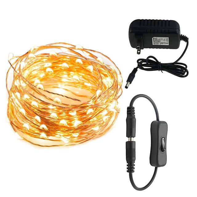 10m Dizili Işıklar 100 LED'ler 1set Sıcak Beyaz Beyaz Kırmızı 100-240 V / IP65