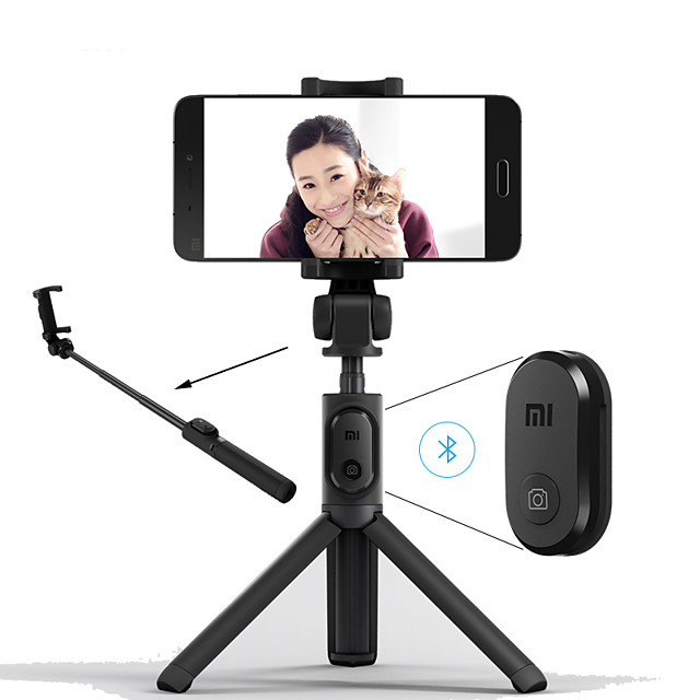 xiaomi pieghevole treppiede monopiede selfie stick bluetooth con pulsante selfie pulsante di scatto wireless per ios / android / xiaomi