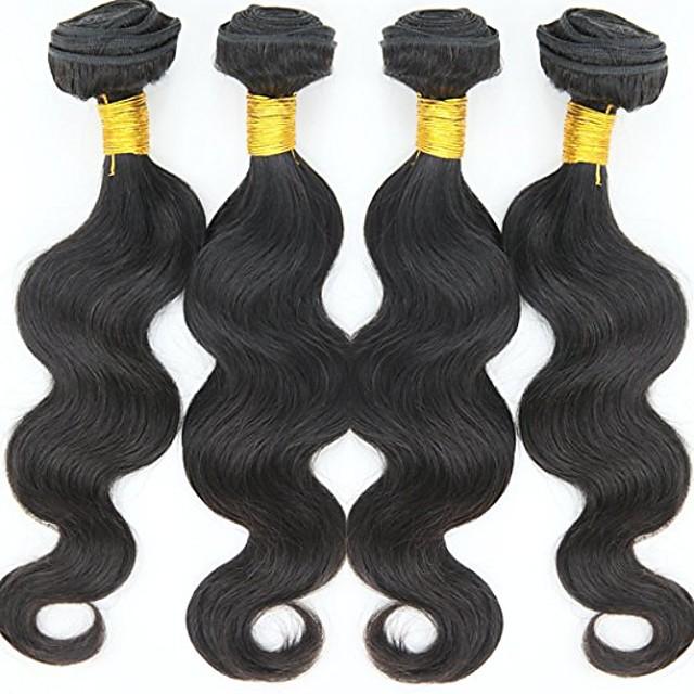 4 Paket Saç Örgüleri Hintli Saçı Vücut Dalgası İnsan Saç Uzantıları Gerçek Saç İnsan saç örgüleri 8-30 inç Moda / Şort / 8A
