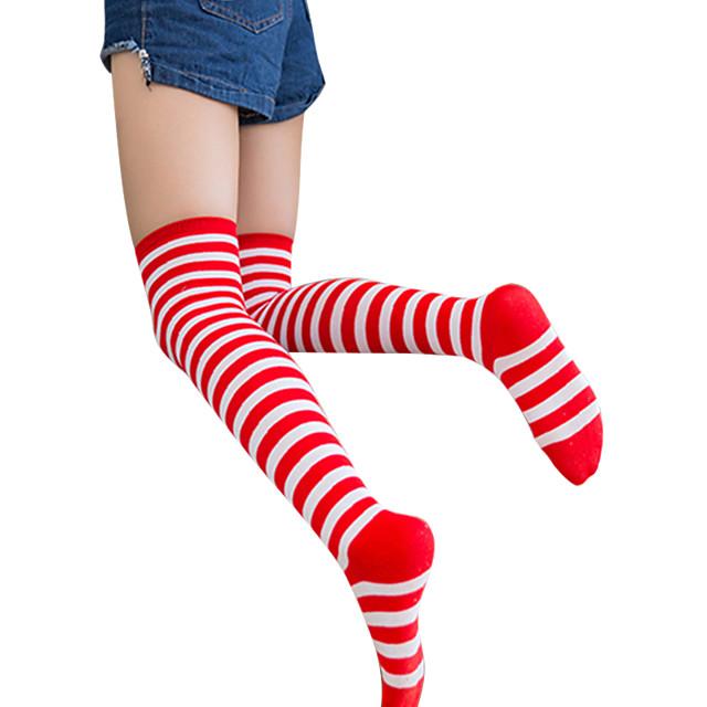 Sexy Lolita čarape Crno-bijeli Crna / crvena Red / White Prugasti uzorak Pamuk Lolita Pribor / Gothic Lolita / Classic / Tradicionalna Lolita / Visoka elastičnost