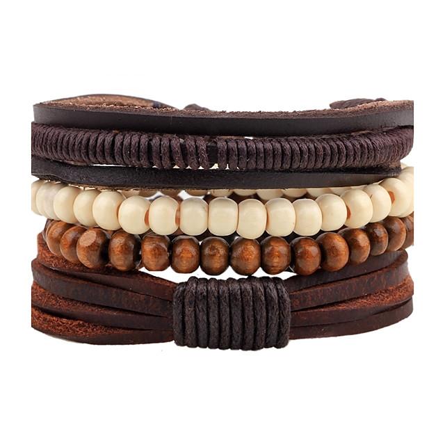 Herrn Damen Perlenarmband Lederarmbänder Seil gewebte Böhmische Hölzern Armband Schmuck Kaffee Für Normal Ausgehen / Holz