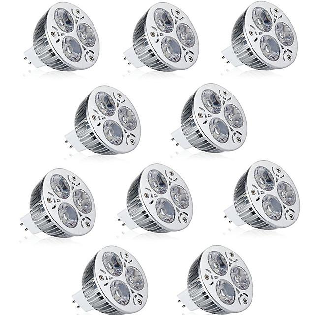 10 pièces 9 W Spot LED 600 lm MR16 3 Perles LED LED Haute Puissance Décorative Blanc Chaud Blanc Froid 12 V