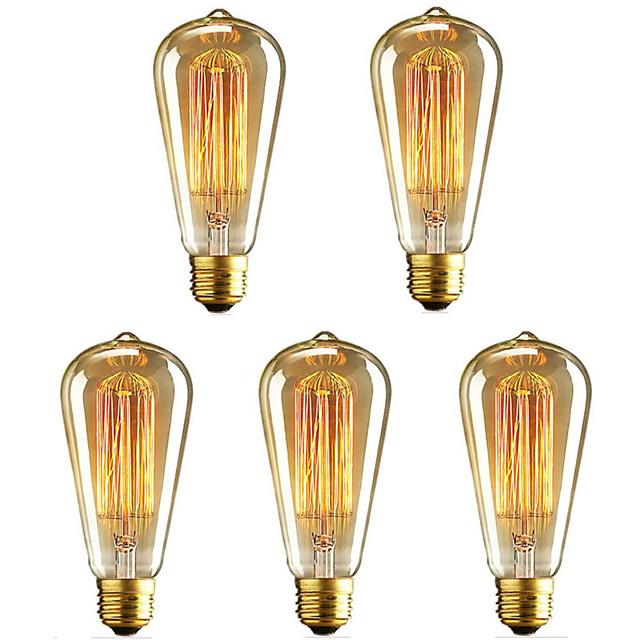 5 pièces 40 W E26 / E27 ST64 Blanc Chaud 2200-2700 k Rétro / Intensité Réglable / Décorative Ampoule à incandescence Vintage Edison 220-240 V