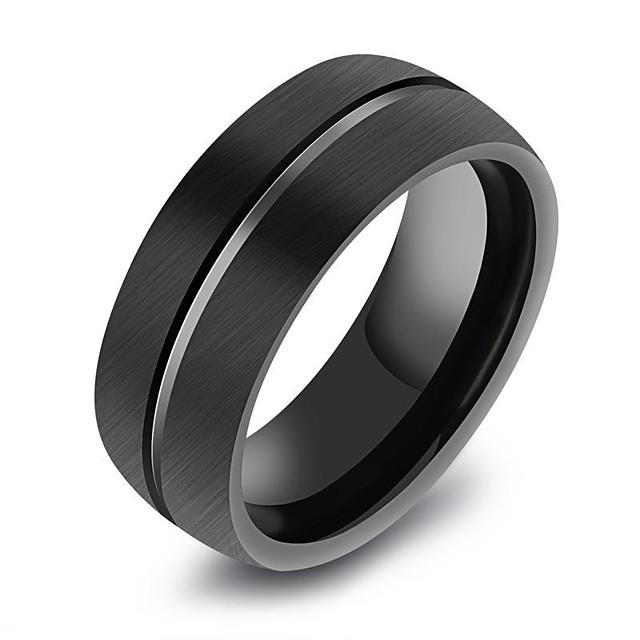 วงแหวน ทางเรขาคณิต สีดำ Titanium Steel ทังสเตนเหล็ก Titanium เกาหลี แฟชั่น จิวเวลเริ่มต้น 8 9 10 11 12 / สำหรับผู้ชาย