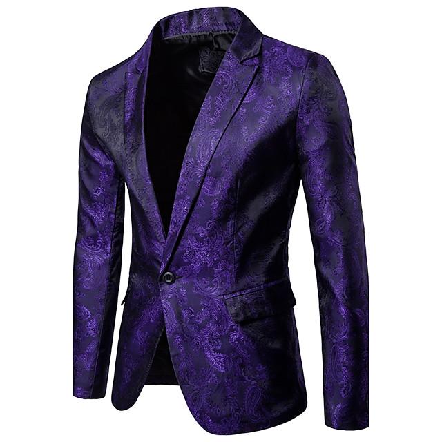 Homme veste Couleur Pleine Fleurie Normal Sophistiqué Soirée Quotidien Usage quotidien Blanche / Noir / Bleu M / L / XL